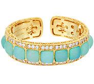 Judith Ripka Sterling & 14K Clad Blue Chalcedony Cuff Bracelet - J322468