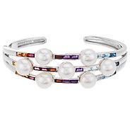 Honora Cultured Pearl 8.5mm & 2.70 cttw Multi-gemstone Sterling Cuff - J323668