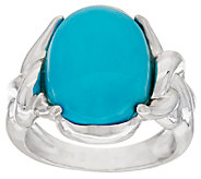 As Is Sterling Silver Oval Turquoise Twist Design Ring - J325268