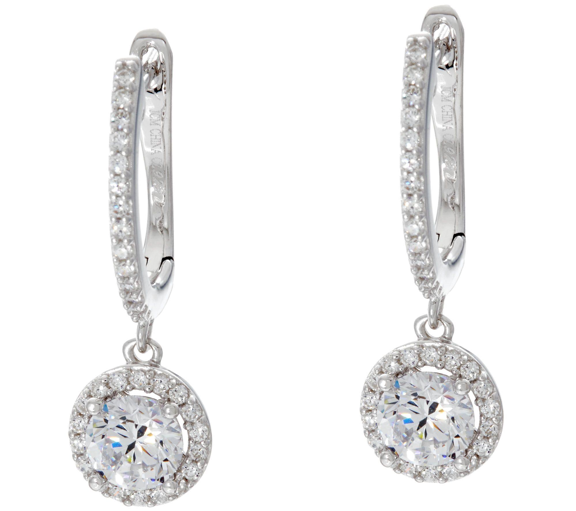 diamonique halo design dangle earrings sterling or 18k