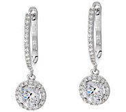 Diamonique Halo Design Dangle Earrings Sterling or 18K Plated - J329868