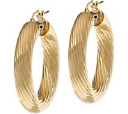 Bronze 1-1/4 Ribbed Round Hoop Earrings by Bronzo Italia - J333668