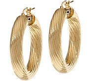 Bronze 1-1/4 Ribbed Round Hoop Earrings by Bronzo Italia - J333668