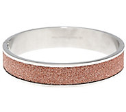 As Is Stainless Steel Glitter Hinged Bangle - J346768