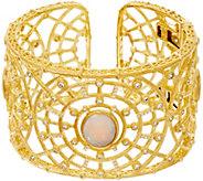 Judith Ripka Sterling & 14K Clad Opal & Diamonique Cuff Bracelet - J348268