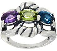 Carolyn Pollack Sterling Silver Three Gemstone Ring 2.40cttw - J349668