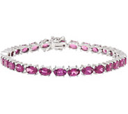 Oval Purple Rhodolite Garnet 7-1/4 Sterling Tennis Bracelet - J350068