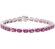 Oval Purple Rhodolite Garnet 7-1/4 Sterling Tennis Bracelet - J350068