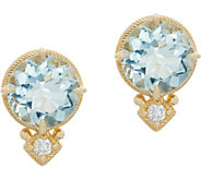 Judith Ripka 14K 2.80 cttw Aquamarine & Diamond_Accent Stud Earrings - J352568