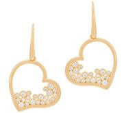 Diamonique Heart Dangle Earrings Sterling or 18K Plated - J353768