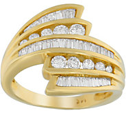 Baguette & Round Channel Set Ring, 14K, 1.25 cttw, by Affinity - J376868