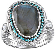 Judith Ripka Sterling Labradorite Ring with Diamonique Edge - J377168