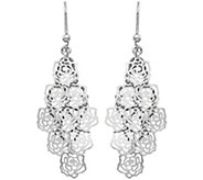 Italian Silver Floral Dangle Earrings, Sterling - J379868