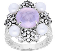 Judith Ripka Sterling Rose Quartz & FreshwaterPearl Ring - J380268