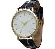 Olivia Pratt Womens Plaid Leather Watch - J380468
