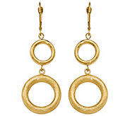 Italian Gold Circle Dangle Leverback Earrings 14K, 6.7g - J382168