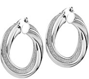 Italian Gold 1-3/8 Glimmer Twisted Hoop Earrings 14K, 7.6g - J382268
