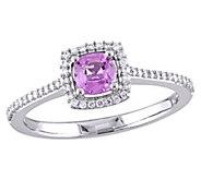 14K Gold Cushion-Cut Pink Sapphire & Diamond Halo Ring - J382468