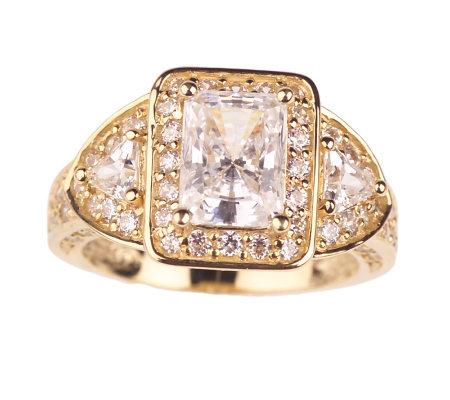 diamonique 2 55 ct tw emerald cut w fancy gallery ring
