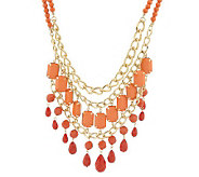 Colorful Opaque Bead Layered Bib Necklace - J149469