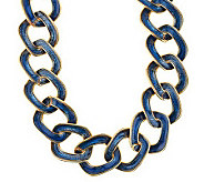 Kenneth Jay Lanes Enamel Reversible Link 19 Necklace w/ 3 Extender - J270469