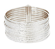 As Is VicenzaSilver Sterling 8 10-Row Omega Bracelet, 38.8g - J273269