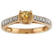 0.35 ct Montana Sapphire & Diamond Solitaire Ring 14K Gold - J283369