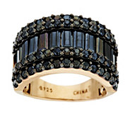 5.10 ct tw Black Spinel Baguette & Round Sterling Ring - J287369