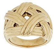 14K Gold Textured Bold Basketweave Band Ring - J292669