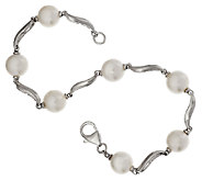 Honora Cultured Pearl 8.0mm 8 Swirl Design Sterling Bracelet - J293969