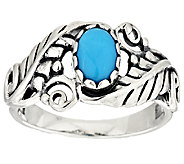 Sleeping Beauty Turquoise Leaf Sterling Silver Ring by American West - J294569