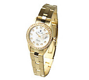 Arte dOro 1/2 ct tw Diamond Polished & Satin Watch, 18K Gold - J299069