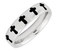 Simply Stacks Sterling Polished & Epoxy EnamelCross Ring - J299169