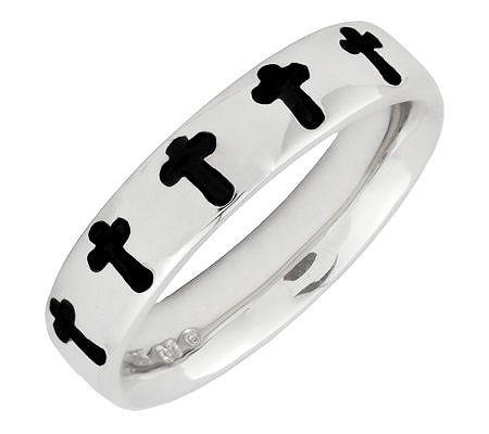 Simply Stacks Sterling Polished & Epoxy Enamel Cross Ring
