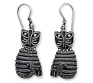 Novica Artisan-Crafted Sterling Indonesian Cat Earrings - J303869