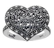 Suspicion Sterling Marcasite Milgrain Heart Ring - J304369