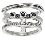 Sterling Silver Triple Row Gemstone Ring by Or Paz - J319369