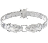 UltraFine Silver 7-1/4 Panther Head Riccio Bracelet 31.8g - J320269
