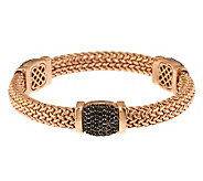 As Is Bronzo Italia Small 2.50 cttw Black Spinel Woven Round Bangle - J320869