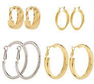 As Is Jacqueline Kennedy Set of 4 Pair Hoop Earrings - J321569
