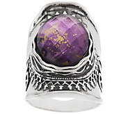Sterling Amethyst & 18K Gold Foil Triplet Ring by Or Paz - J323069
