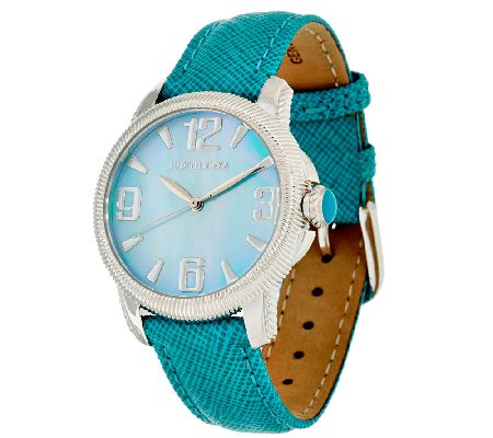 Judith Ripka Stainless Steel & Textured Leather Band Olympia Watch - J323369