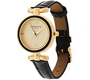 Liz Claiborne New York Curved T-Bar Leather Strap Watch - J323669