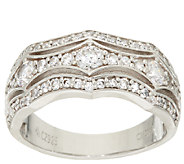 Diamonique Wide Band Ring, Platinum Clad - J324069