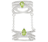 White Topaz & Gemstone Sterling Double Ring with Chain 1.50 cttw - J324269