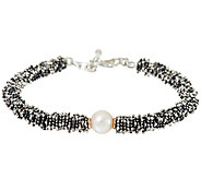 Michael Dawkins Sterling Granulation & Cultured Pearl Toggle Bracelet - J324369