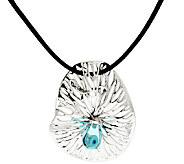 As Is Kalos by Hagit Sterling Silver Glass Pendant on Leather Cord - J325269
