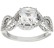 Diamonique Cushion Cut Infinity Bridal Ring, Platinum Clad - J326069