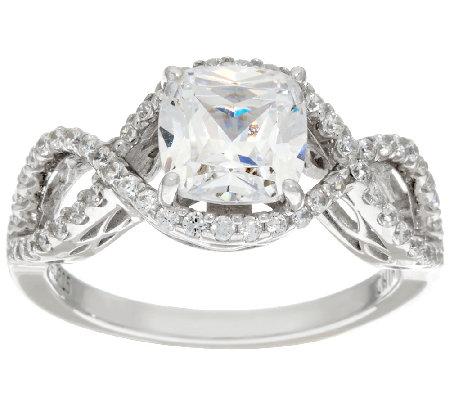 Diamonique Cushion Cut Infinity Bridal Ring Platinum Clad