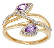 Pear Shaped Purple Sapphire & Diamond Ring 14K Gold 0.40 cttw - J329169
